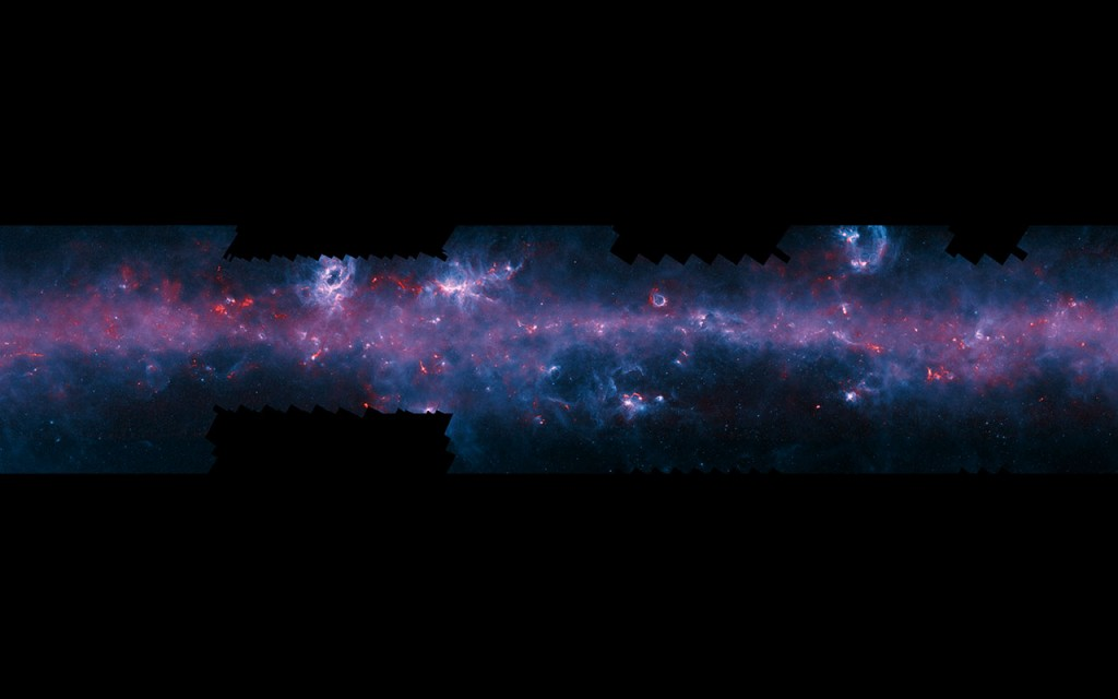 This image of the Milky Way has been released to mark the completion of the APEX Telescope Large Area Survey of the Galaxy (ATLASGAL). The APEX telescope in Chile has mapped the full area of the Galactic Plane visible from the southern hemisphere for the first time at submillimetre wavelengths — between infrared light and radio waves — and in finer detail than recent space-based surveys. The APEX data, at a wavelength of 0.87 millimetres, shows up in red and the background blue image was imaged at shorter infrared wavelengths by the NASA Spitzer Space Telescope as part of the GLIMPSE survey. The fainter extended red structures come from complementary observations made by ESA's Planck satellite. Note that the far right section of this long and thin image does not include Planck imaging. To fully appreciate this image click on it and zoom and scroll sideways.
