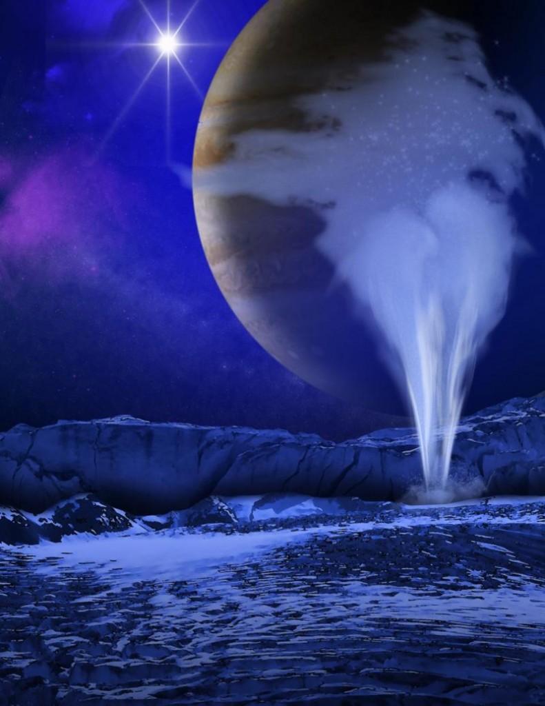 NASA İllüstrasyonu Europa' dan Su püskürüyor