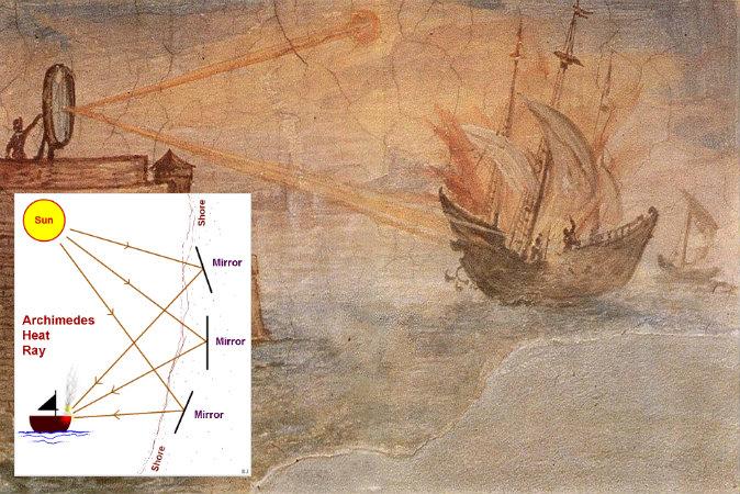 arşimet roma donanmasını yakarken