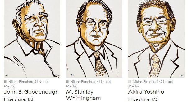 2019 Nobel Kimya Ödülü, Lityum İyon Pili Geliştirenlere Verildi